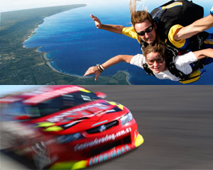 Adrenalin V8 Hot Lap and Beach Skydive Double Header! Sydney