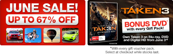June sale – up to 67% off on top experiences with bonus DVD at Adrenalin.com.au