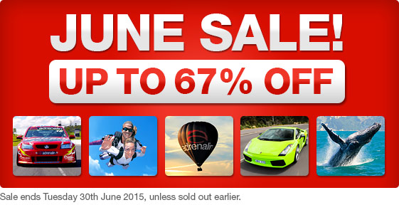 June sale up to 67% off on top gifts & experiences at Adrenalin.com.au